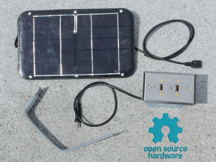 Solar Socket Kit (Solar Panel, Bracket, USB Wall Socket, Power Cable)
