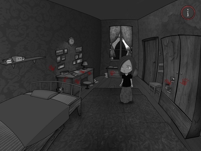 You start your noir adventure in Amber´s bedroom, after strange noises wake you from your sleep