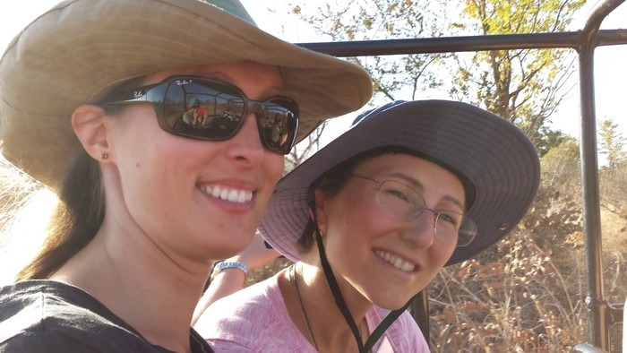 Sarah and me on the ranch tour. We are sitting in the back of the truck that has been converted to seats. It's perfect for game drives and tours with lots of people.
