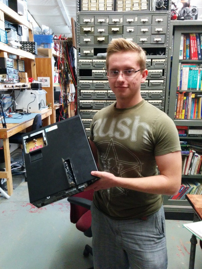 Here's Peter with one of our developer boxes. You know you want one of these with custom metalwork!