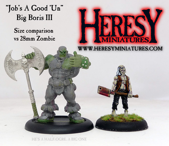 Size comparison of resin JAGU Big Boris III vs 28mm Zombie, click for bigger pic