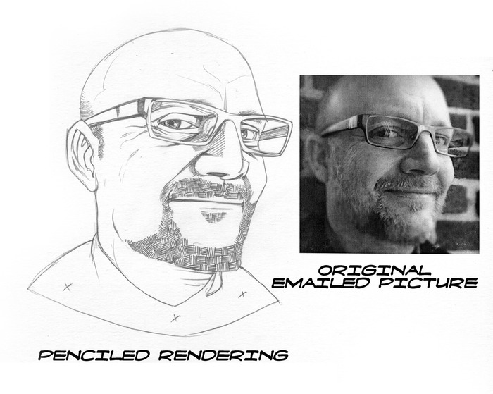 Sample of a rendered pencil sketch card.