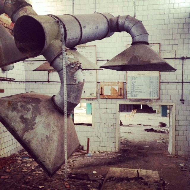Here's what's left of the kitchen in a big cafeteria.