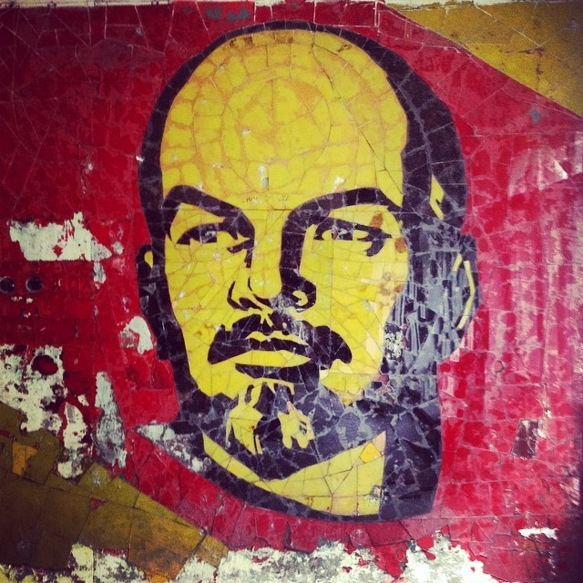 ...and Lenin's head covered one wall.