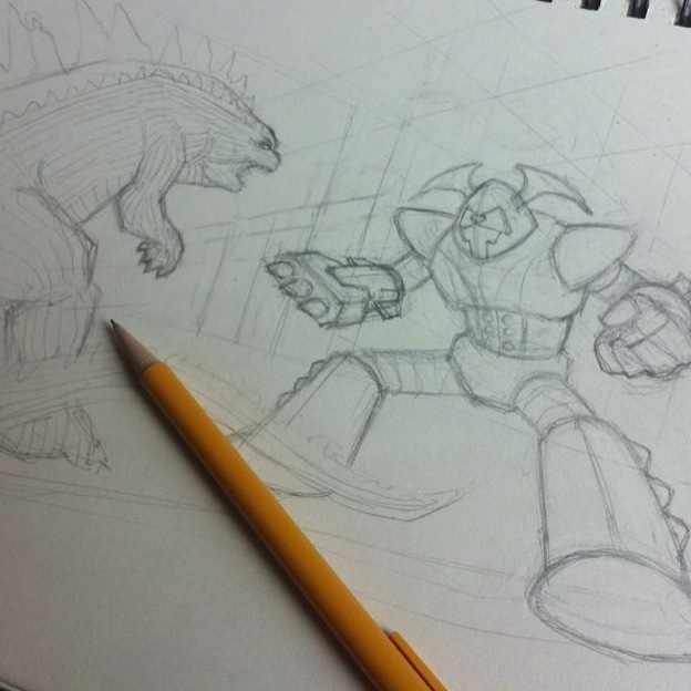 In-progress sketch by Steven Ciancanelli for his reward tier.