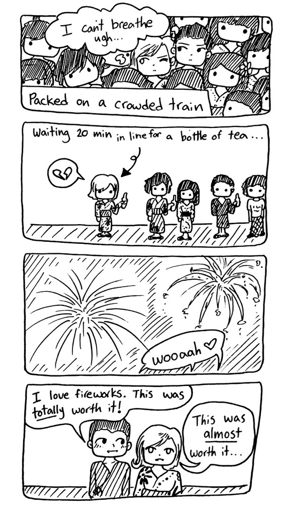 """""""Hanami"""" or """"fireworks viewing"""" is hugely popular in Japan. And, of course, it's always INCREDIBLY crowded..."""