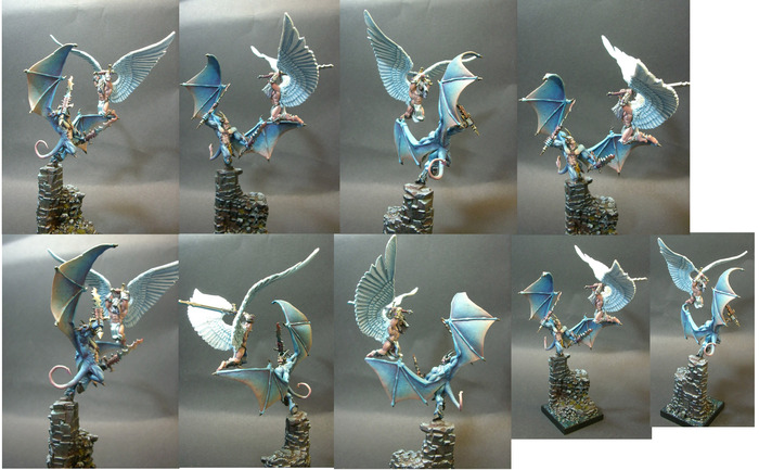 B'Hakoth and The Angel Of Righteous Vengeance, a diorama by Talonicus, 2011. My version will be similar to this but with the combatants joined together securely as one model.