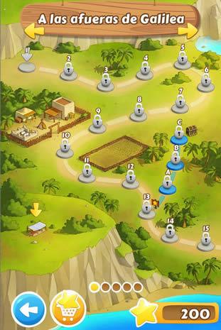 Selector de niveles de la primera zona del juego