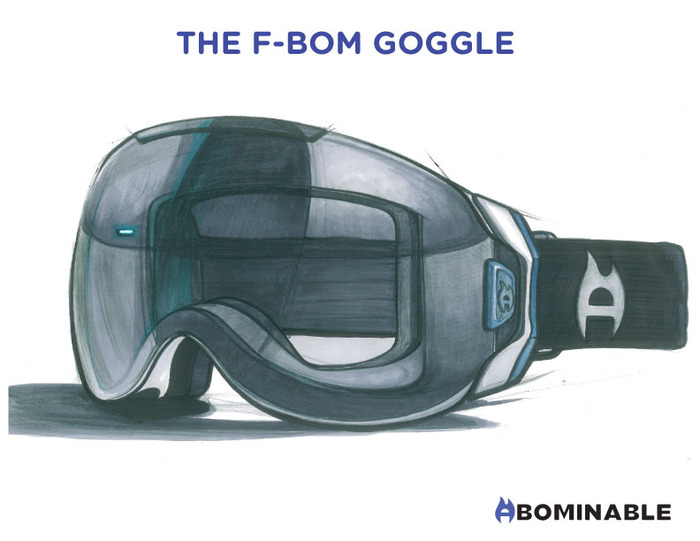 Once we  decided on the Zeiss lens, this was the sketch that would become the the F-BOM goggle.