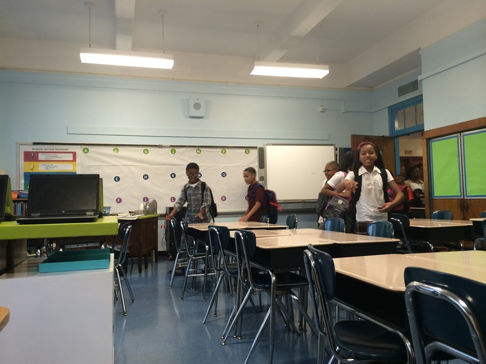 the first kids come into room 220, first day of school