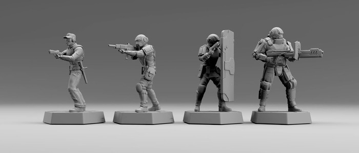 Renders of the enemy miniatures, including the Assaulttrooper and Shieldtrooper.