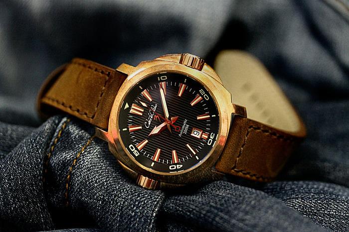 Solid bronze cusn8 twin crown dive watch designed in - Bronze dive watch ...