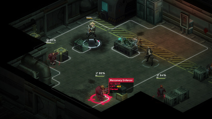 An example of a flanking attack on an enemy in cover. Also note the addition of white armor pips above each character's health bar.