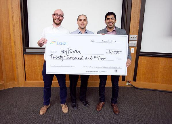 AMPY Co-founders Alex Smith, Mike Geier, and Tejas Shastry, winning the NU Venture Competition. (AMPY was formerly myPowr)