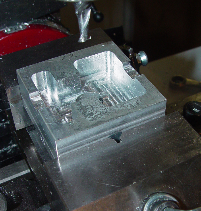 Here a TRiBOT machine has milled out the front of an extruder head for use on a TRiBOT machine!