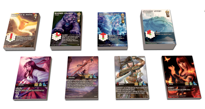 Interchangeable character and Kami cards provide 16 playable combinations. Expandable with new Masters and new Kami! (Click for larger image)
