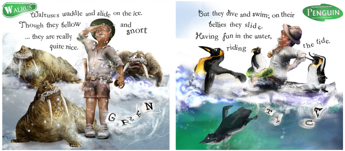 ....Walrus 1st of page-spread; Penguin 2nd of page-spread