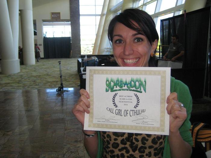 Melissa O'Brien receives her award for Best Actress!