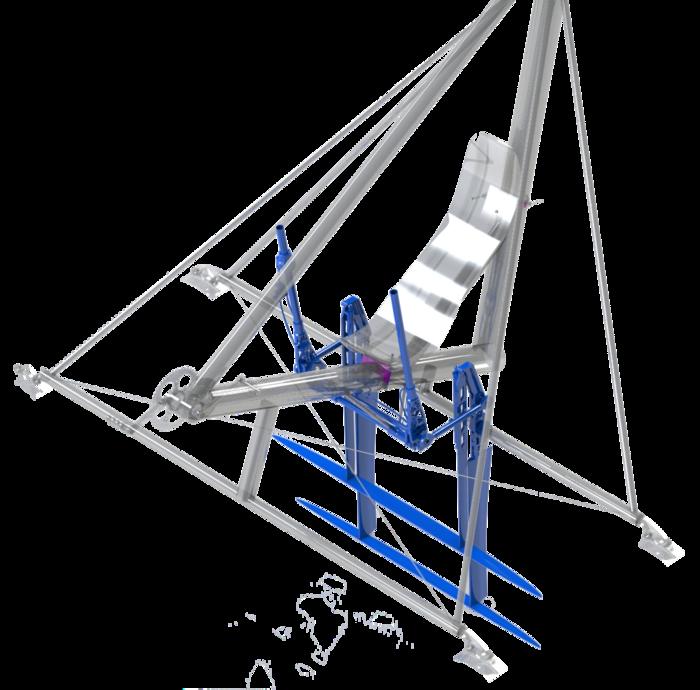 Le financement avec Kickstarter va nous permettre de fabriquer les ailes sous-marines (hydrofoils) représentées en bleu sur l'image