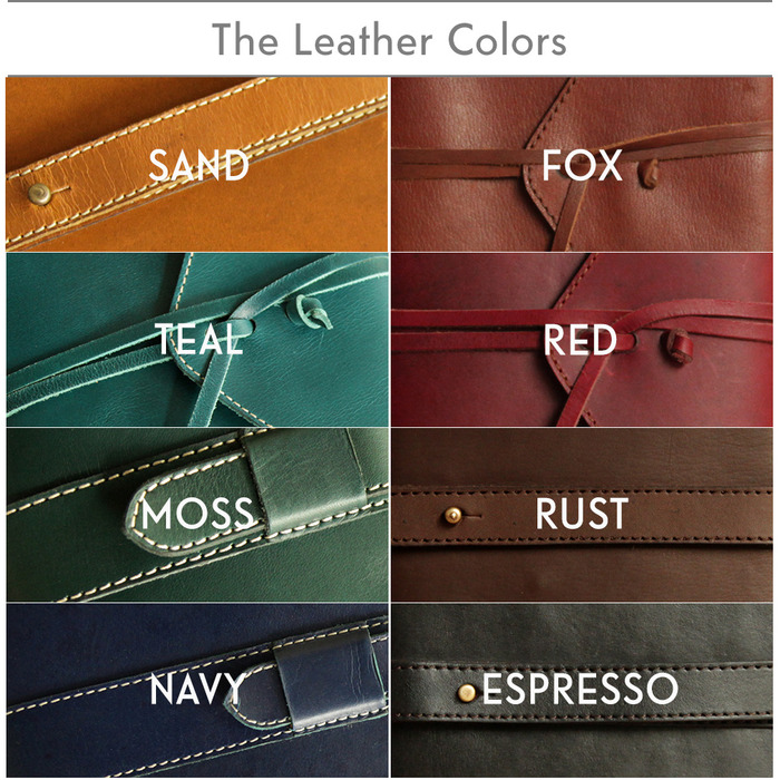 8 Amazing colors you can choose from! Note : If you're a backer from our previous project, the current Rust & Sand is a bit darker.