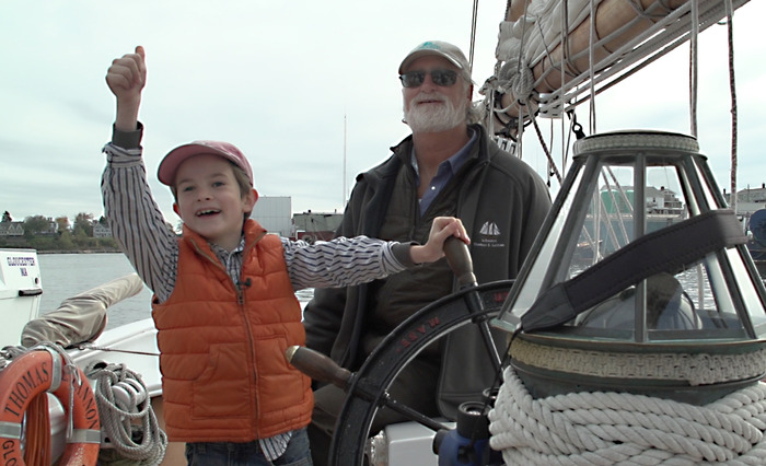 Collin docking the 65 ft Schooner Lannon