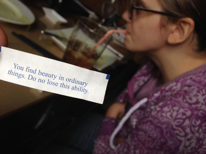 A perfect fortune at dinner with Michelle