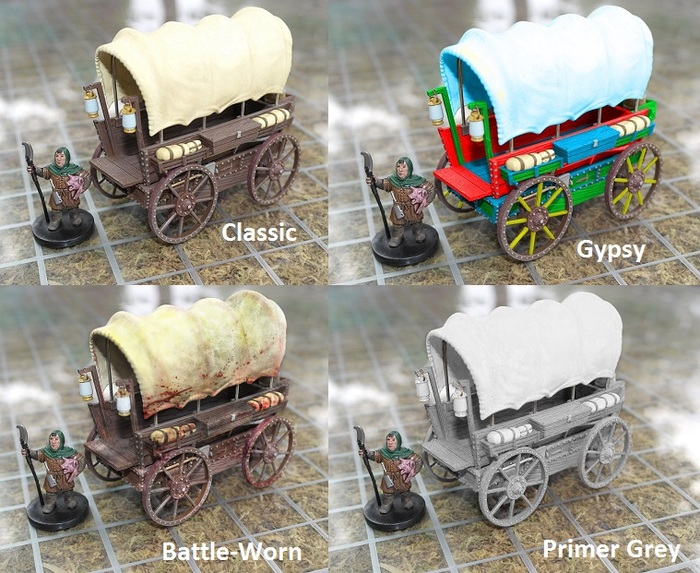 Concept art of paint variations; Gypsy, Battle Worn, and Primer Grey.