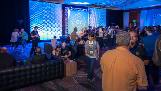 Developers gathered at the welcome reception