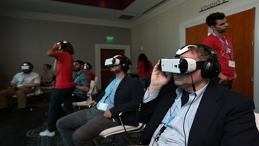 Attendees experiencing Gear VR Innovator Edition