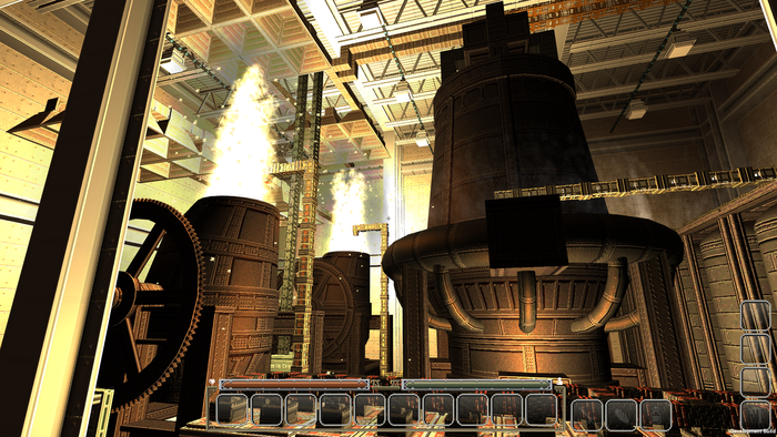 Blast furnace takes in milled iron ore, limestone flux, and coal coke, and passes on the resulting molten pig-iron toward the Bessemer converters, to purify the iron into high-grade steel ready to be pressed