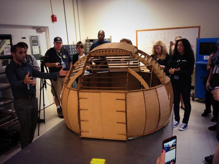 A cardboard model of the BRO dome at NASA Ames 75th Anniversary