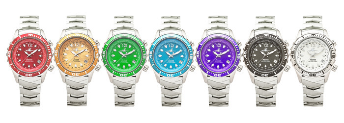 Red, Orange, Green, Purple, and Black are Mother of Pearl dials.  Blue and White dials are Fully Luminous dials that Glow in the Dark!