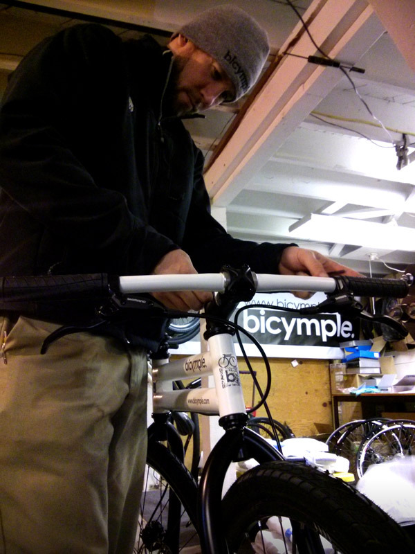 Josh, putting the finishing touches on the very first of the Kickstarter bicymples.