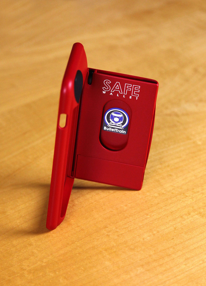 BulletTrain SAFE Wallet for iPhone 6 Plus In Ruby Red shown with optional SAFE Pen