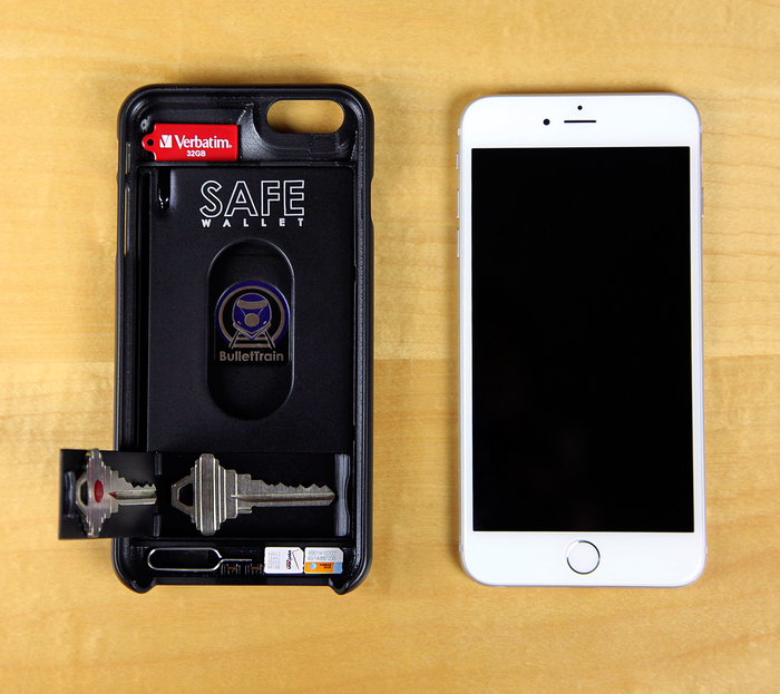 SAFE Wallet for iPhone 6 Plus Shown with Optimized Secret Stash Compartments