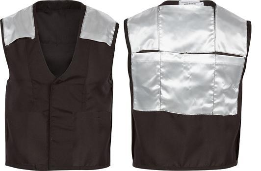 Inside-out view of the front + back of the vest, showing ice pocket locations.
