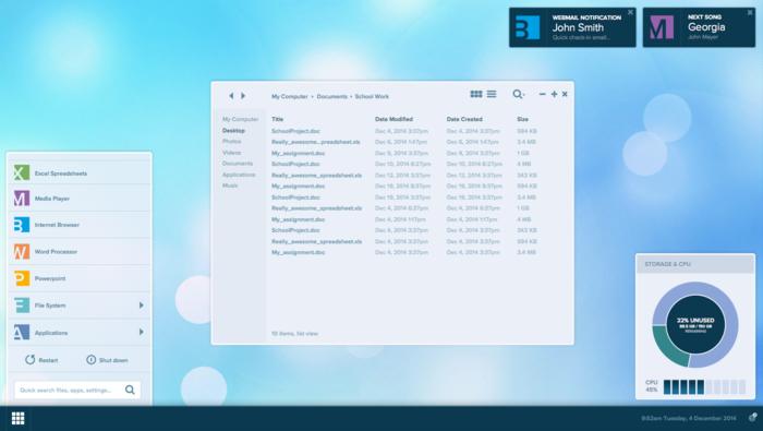 Andromium desktop UI