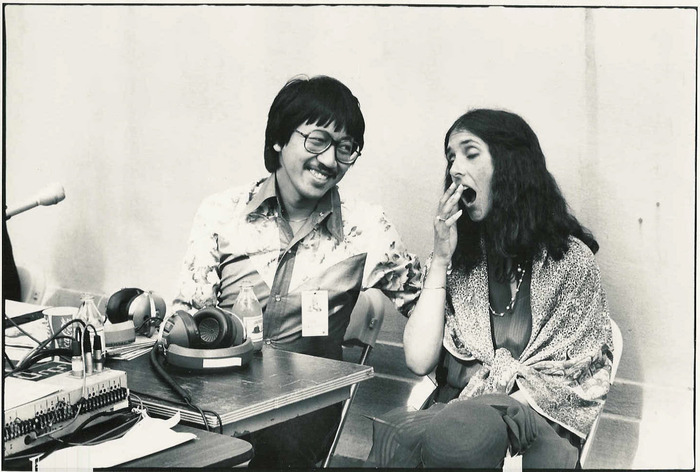 Back in the day Ben Fong-Torres was music editor at Rolling Stone Magazine and he held down two weekend air shifts at KSAN Jive 95. Here he is with singer Mimi Farina.