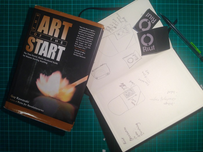 "My notebook + the book to help you start anything: Guy Kawaski's ""The art of the start"""