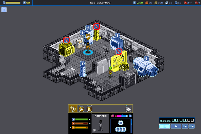 Unpowered objects are highlighted in yellow.