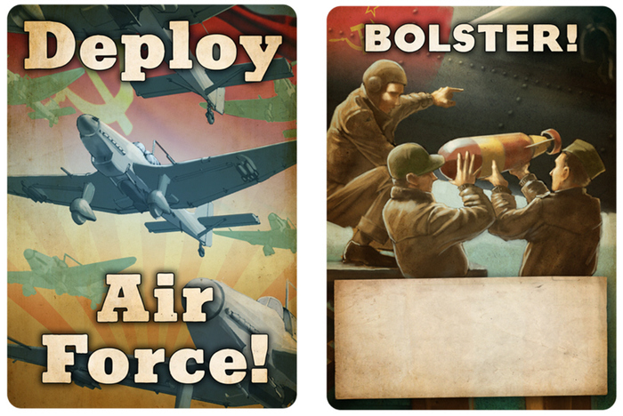 Artwork for two new cards, Deploy Air Force and Bolster