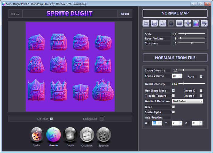 Sprite DLight - Instant normal maps for 2D graphics - Update #16
