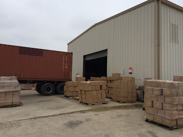 Some of the Pallets of Boxes being sorted.
