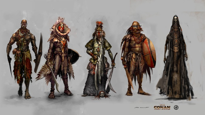 From left to right: Ageera, Bodyguard, Afari the warlord, Bodyguard, Shubba the sorceror