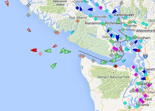 Cargo ships around Seattle