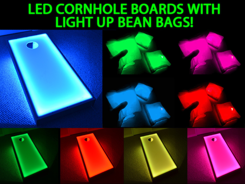LED Bean Bags with Light Up Cornhole Boards, Great Glow ...