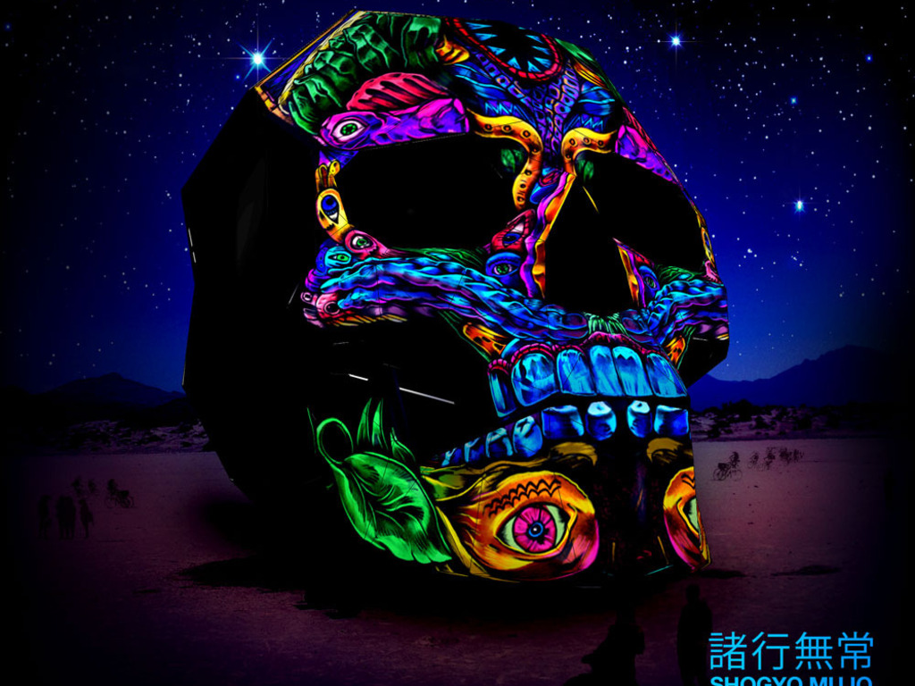 3D, 360º Projection Mapped Skull for Burning Man 2014's video poster