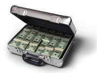 Dollar bills in a suitcase