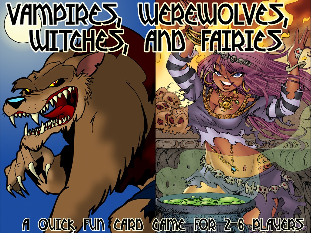 Vampires, Werewolves, Witches, and Fairies: A fun quick card game for 2-10 players's video poster