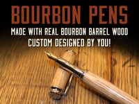 Bourbon Barrel Pens upcycled from real, used Bourbon Barrels